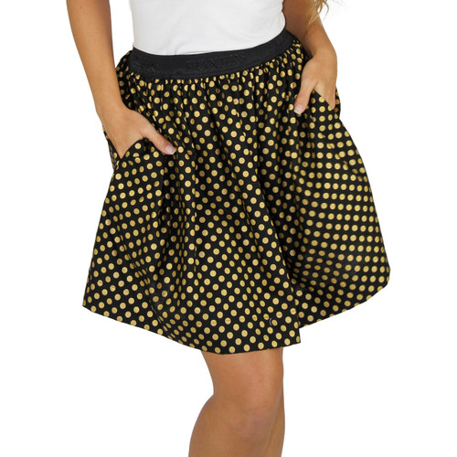 Black & Gold Polka Dot Mini Skirt