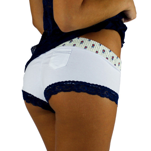 White Boy Shorts with Munroe Heritage Band and Navy Lace Trim
