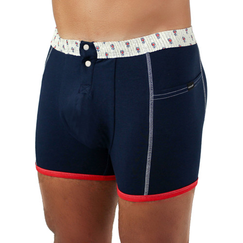 Men's Navy Boxer Brief with Munroe FOXERS Band