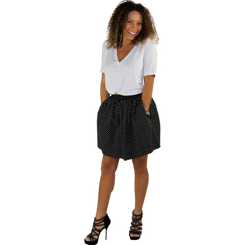Black & White Dot Mini Skirt With Pockets