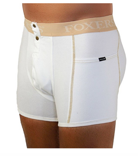 Men's White Boxer Brief with Sand Logo and pockets