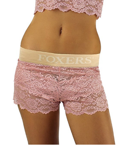 French Rose Lace Boxers with Sand Logo band