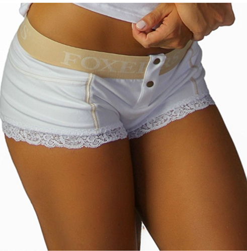 White Boxer Brief with FOXERS Sand Logo