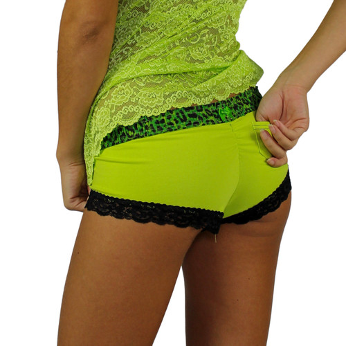 Lime Green Boyshort with Leopard Envy Band
