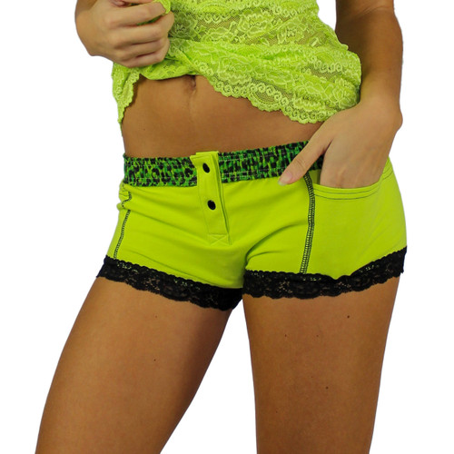 Lime Green Boxer Brief with Leopard Envy Waistband