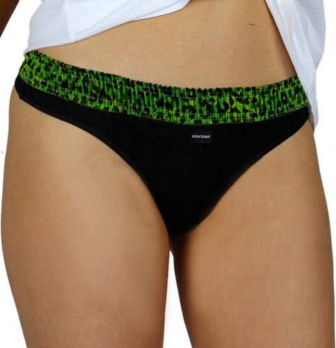 Black Thong with Leopard Envy Waistband