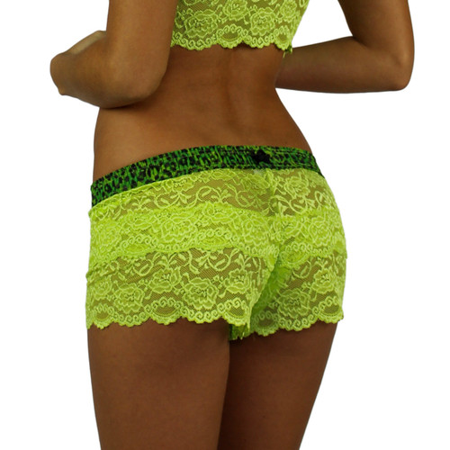 Lime Green Lace Boxers with Leopard Envy Band