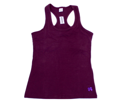 Plum Racerback Tank Top With Shelf Bra