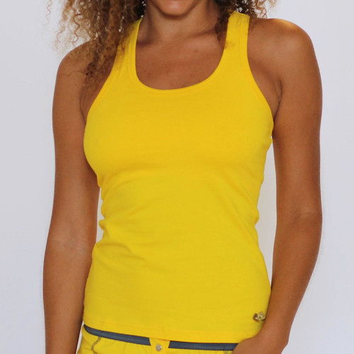 Yellow Racerback Tank Top with Shelf Bra