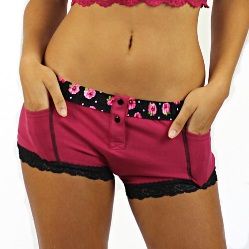 Dark Rose Boxer Brief with Evening Rose Band