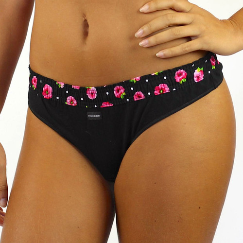 black thong with evening rose