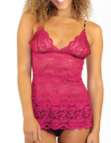 3 Row Dark Rose Lace Cami with Evening Rose Straps