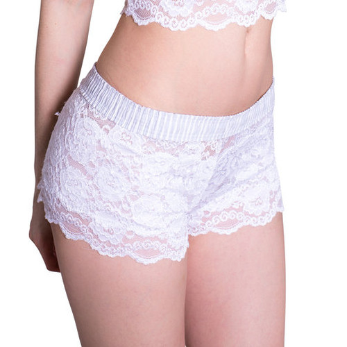 White Lace Boxers Lt Gray stripe band