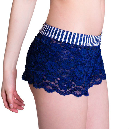 Navy stripe over Navy Lace Boxers