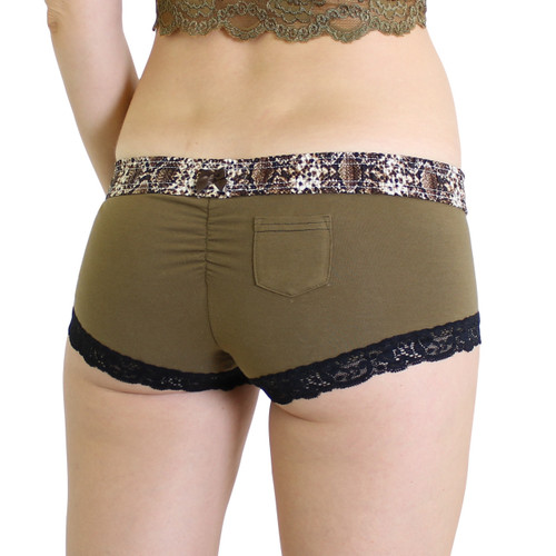 Olive Boyshort with Snakeskin Print Waistband