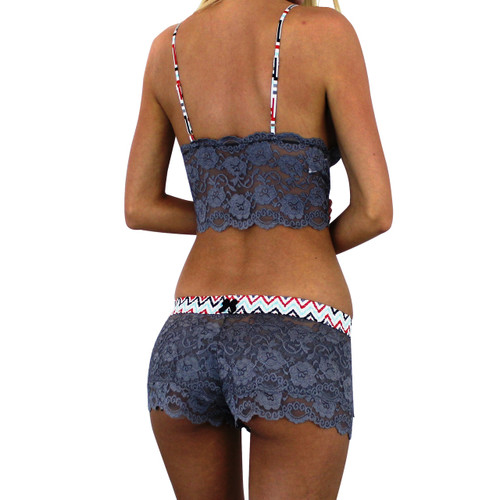 Charcoal Gray Lace Boxer with Chevron FOXERS band