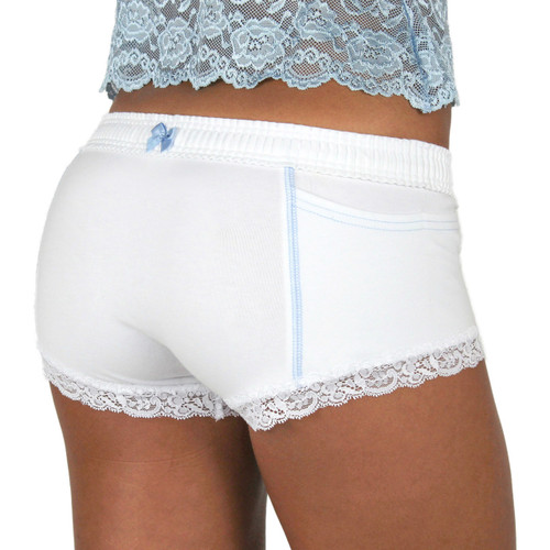 FOXERS  White Cotton Boxer Briefs for Women