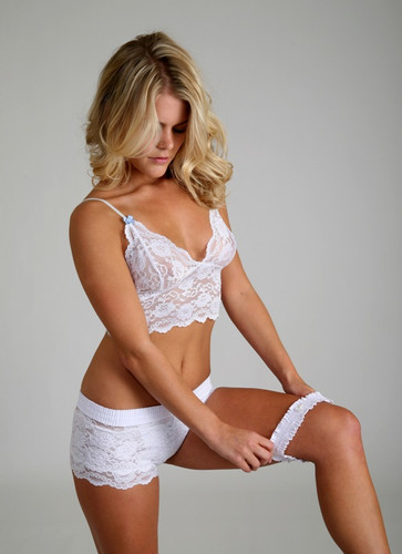 Bridal Lingerie Set | White Lace Top, Lace Boxer Panties and White Leg Garter