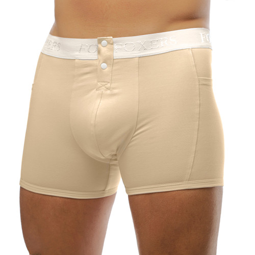 Ivory Boxer Brief with Ivory Logo FOXERS Waistband