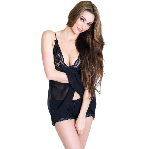 Sexy Black Lace Baby Doll Chemise