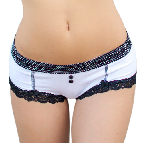 White Boyshorts with Black Pin Dot Waistband