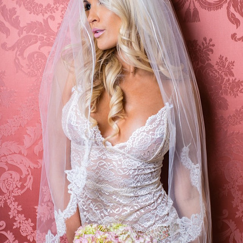 Blush Lace Bridal Camisole with Floral straps