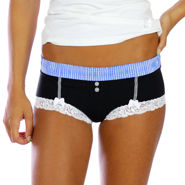 foxers 10 year throwback blue over black boyshort panties