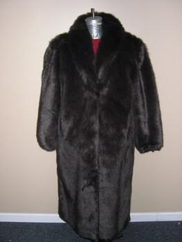 Brown Faux Beaver Long Coat