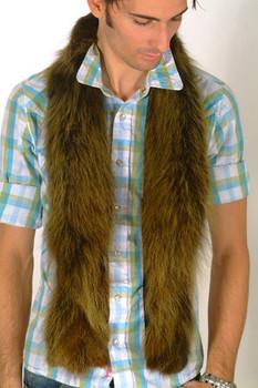 Brown Fox Fur Men's Scarf