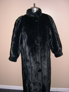 Faux Blue Iris Mink Long Coat