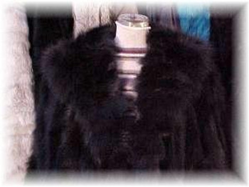 """Plus Size"" Black Fox Fur Coat"