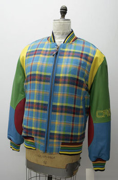Leather Mens Multi-Color Plaid Crown Jacket