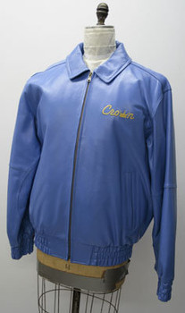 Leather Mens Blue Crown Jacket