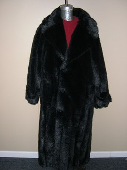 Black Faux Mink Long Coat