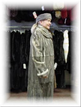 Design Full Skin Gray Mink Fur Coat