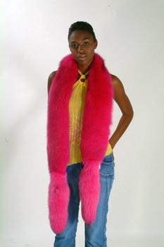 Full Skin Dyed Pink Full Pelt Fox Fur Scarf