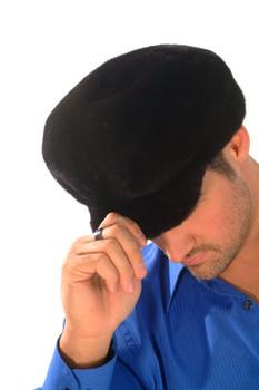 Black Glama Mink Small Brim Hat