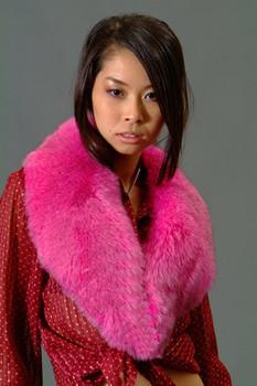 Pink Fox Fur Collar