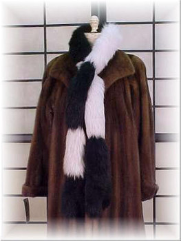 Black & White Fox Fur Tail Scarf