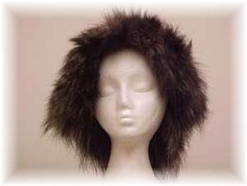 Black Faux Fur Hat with Indigo Fox Fur Trim