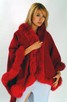 Red Fur Cape with Fox Fur Trim