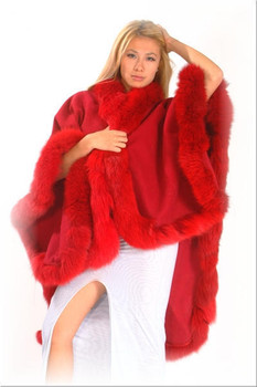 Red Fur Cape with Fox Fur Trim