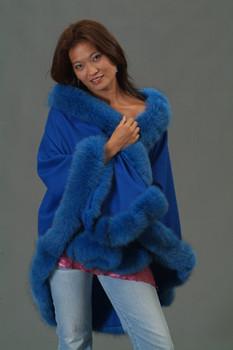 Royal Blue with Dyed Blue Fox Fur Trim