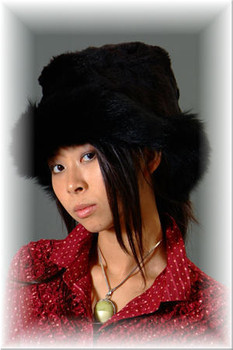 Faux Fur Hat w/ Real Black Fox Fur Trim