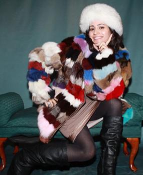 e8f963a92a4 Multi Color Fox Fur Jacket ...