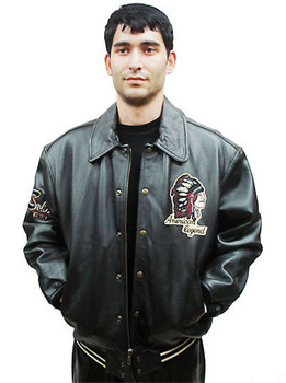 Leather Mens Black Bomber Jacket