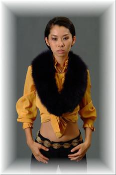 Full Skin Black Fox Fur Collar