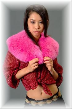 Pink Fox Fur Wing Collar