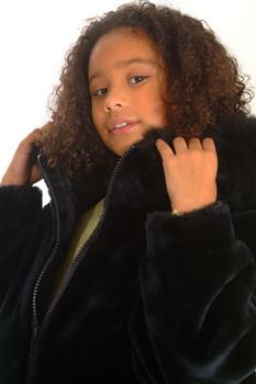 Kids Black Faux  Jacket