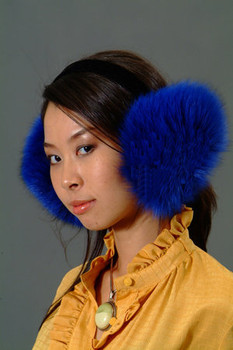 Blue Fox Fur Earmuffs
